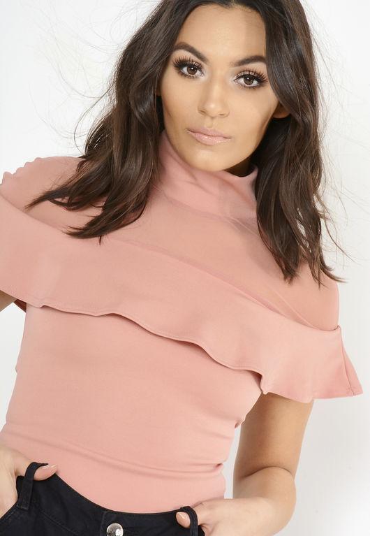 Pink Frill Mesh Combo Bodysuit
