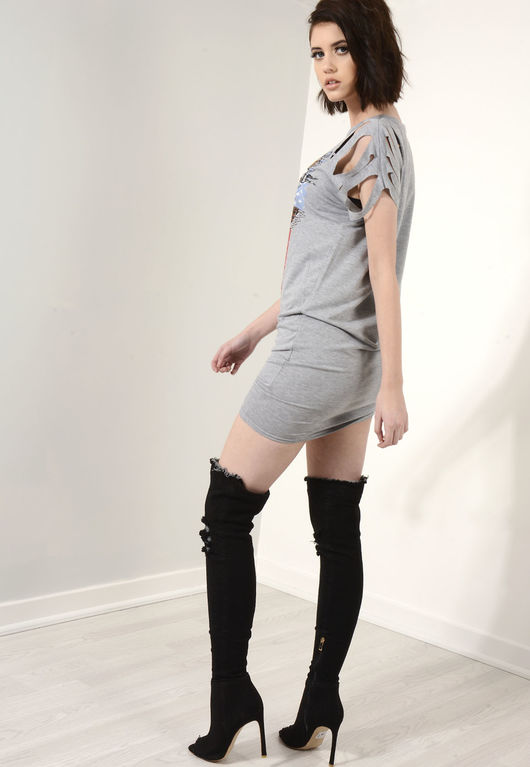 Bailey Grey Distressed Sleeve T-Shirt Dress
