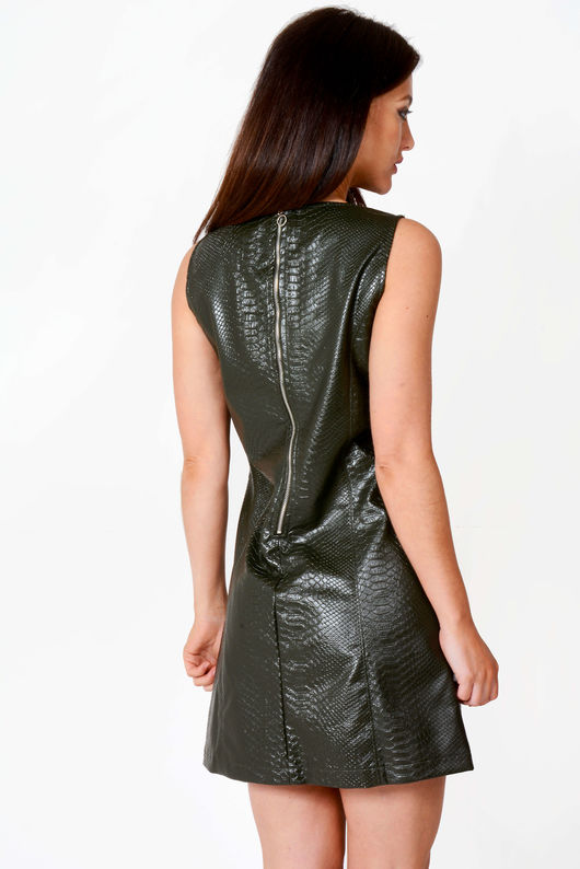 Elsa Faux Leather Snake Skin Print Shift Dress