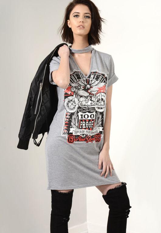 Ride Til We Die Choker T-Shirt Dress