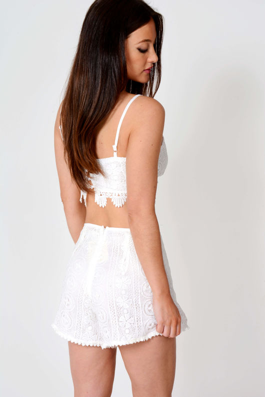 Ronni White Crochet Lace Co-Ord Set
