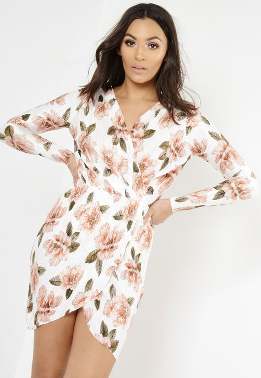 White Long Sleeve Crinkle Floral Wrap Dress
