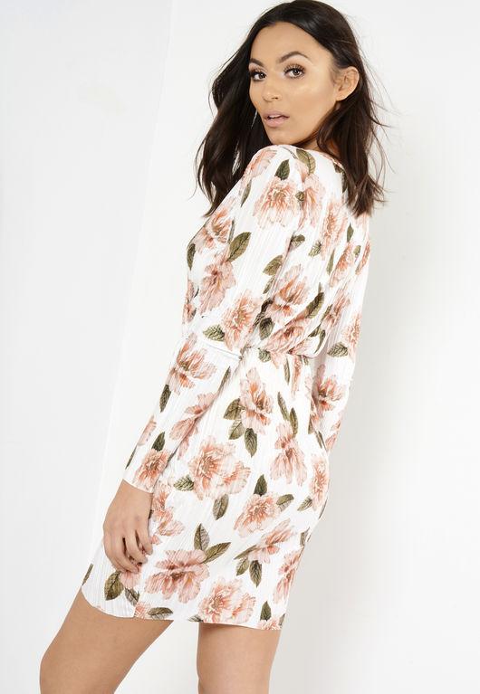 White Long Sleeve Crinkle Floral Wrap Dress