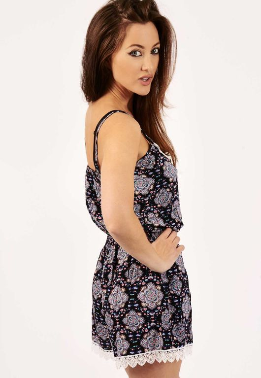 Serena Purple Paisley Bohemian Playsuit