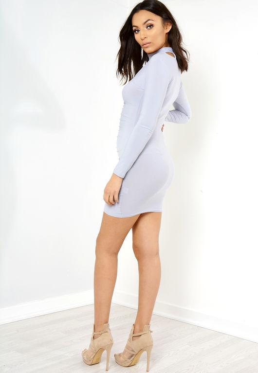 Perrie Grey Ruched Choker Neck Mini Dress