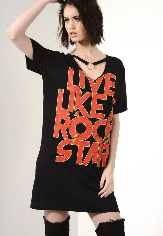 Live like a Rock Star Roll Ring Chocker Dress