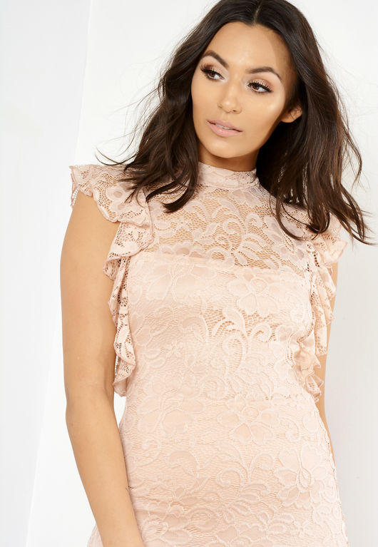 Gia Pink Lace High Neck Mini Dress