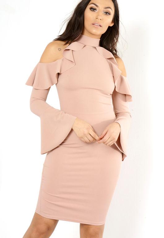 Dali Pink Frill Bodycon Dress