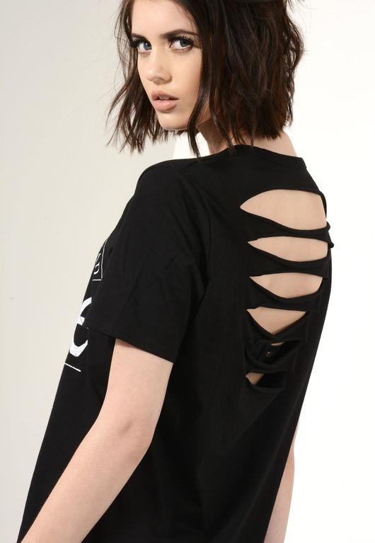 Hadid Black Distressed Back T-Shirt Dress