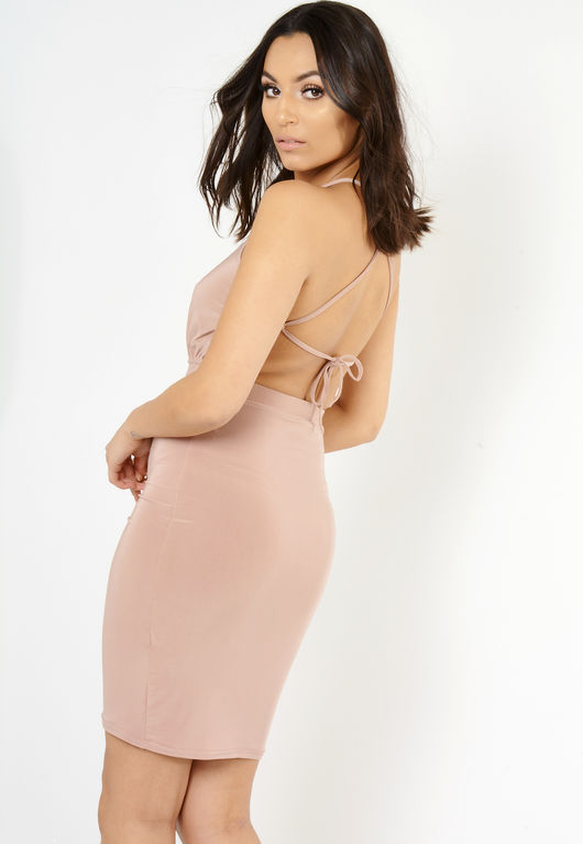 Side Ruched Backless Mini Dress Nude