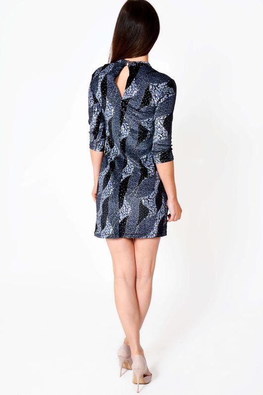 Marrie Navy Blue Geometric Print Mini Dress