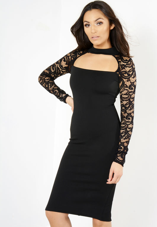 Black Lace Structured Midi Dress