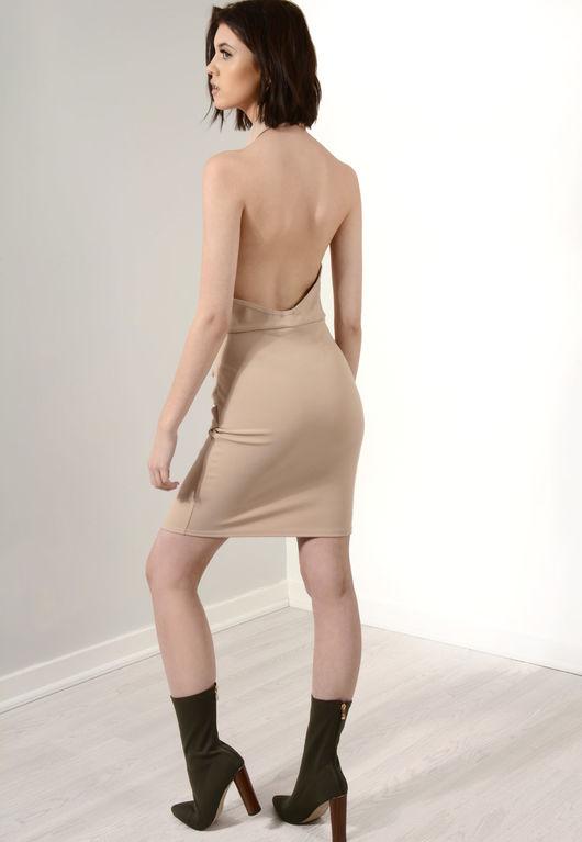 Asymmetric High Neck Dress Stone