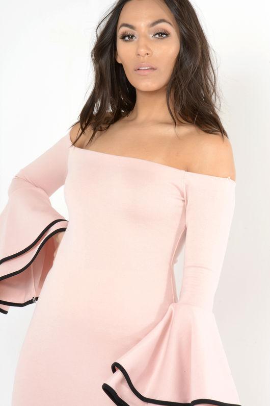 Memmi Pink Bell Sleeve Bardot Midi Dress