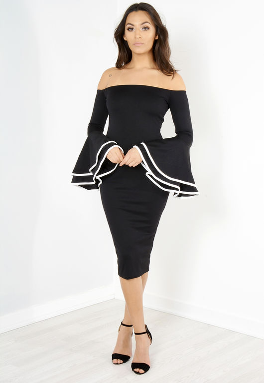 Memmi Black Bell Sleeve Bardot Midi Dress