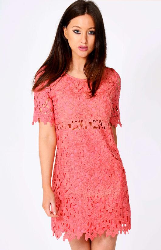 Nasey Floral Net Shift Mini Dress Pink
