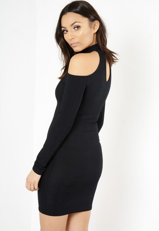 Yasmin Black Cold Shoulder Ribbed Mini Dress