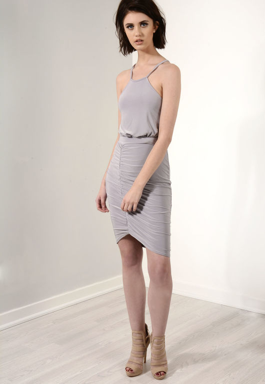 Side Ruched Backless Mini Dress Grey