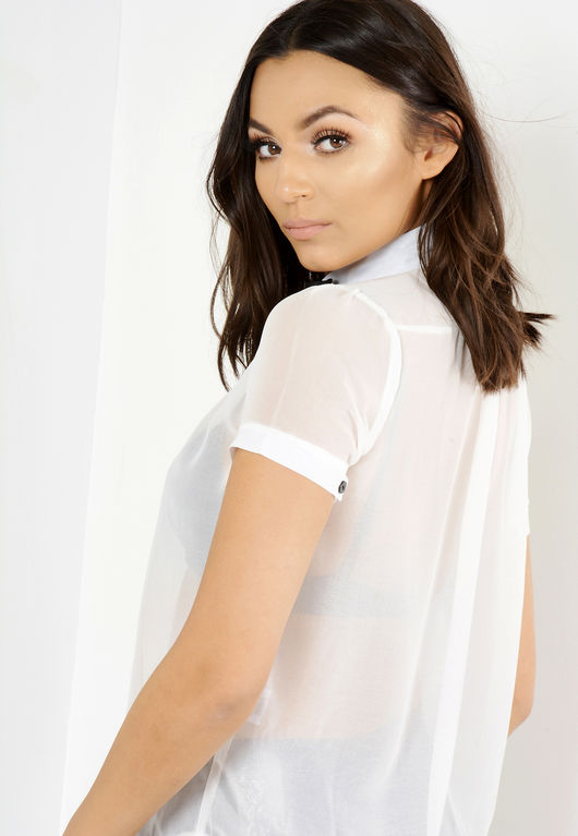 Dianne White Chiffon Pussy Bow Blouse