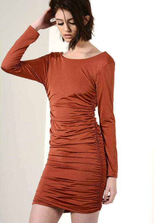 Tia Slinky Ruched Bodycon Dress Rust
