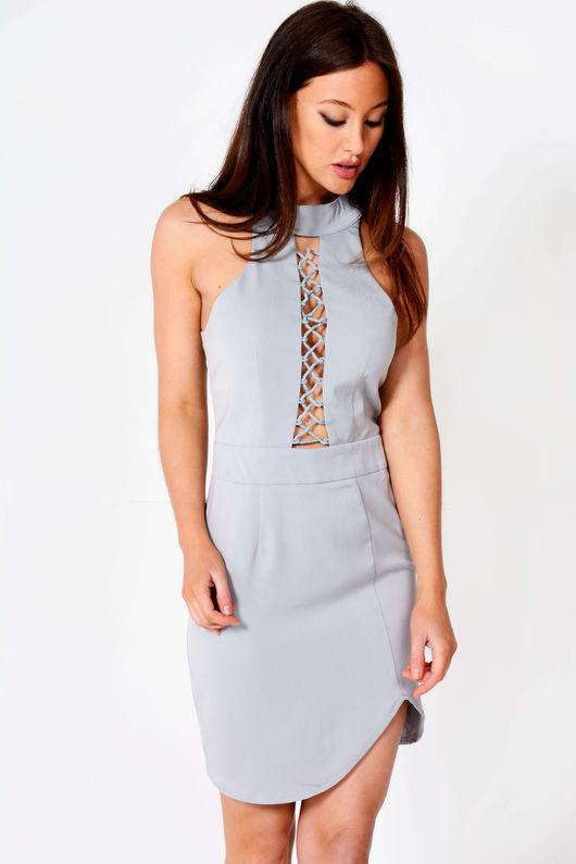 Tanya Lace Feature Sleeveless Shift Dress Grey