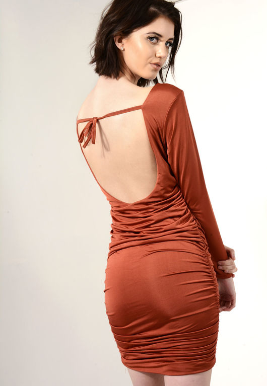 Slinky Ruched Bodycon Dress Rust