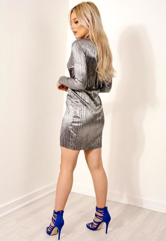 Metallic Silver Wrap Dress