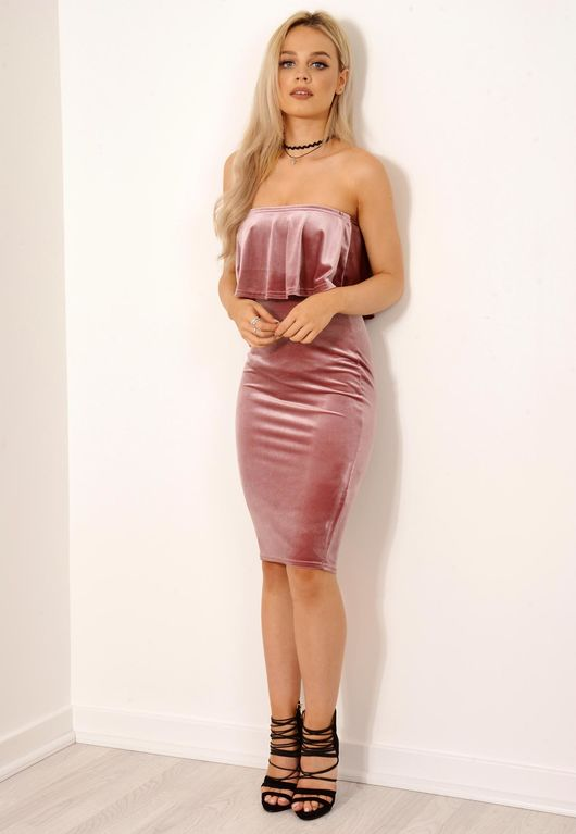Velvet Frill Bandeau Bodycon Dress Nude