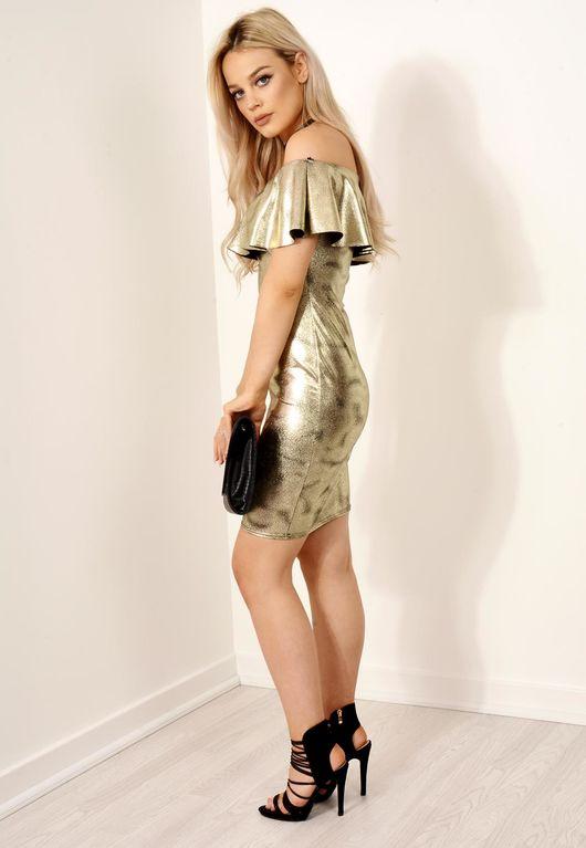 Frill Bardot Metallic Dress Gold
