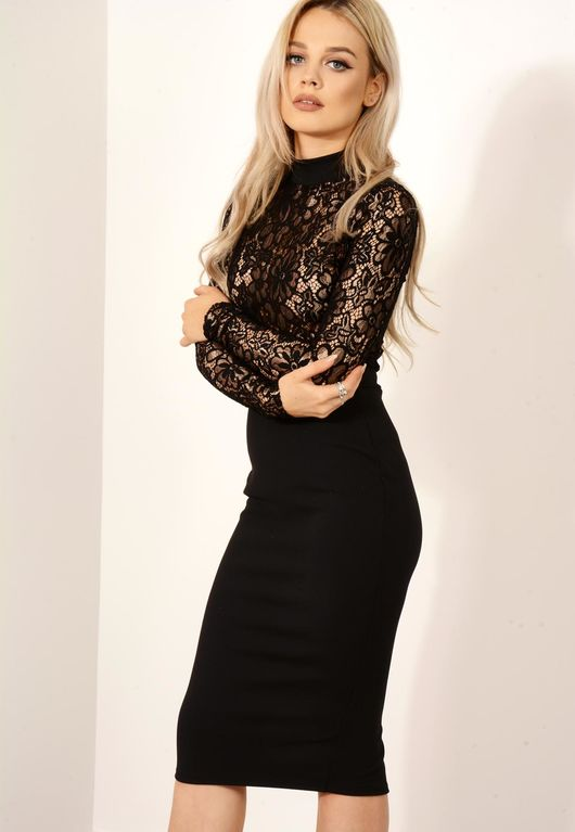 Floral Embroidered Detail Bodycon Dress