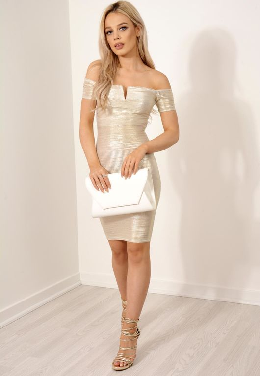 Gold Metallic Pleated Bardot Dress