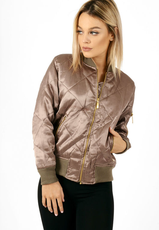 Quilted Satin Bomber Jacket Khaki