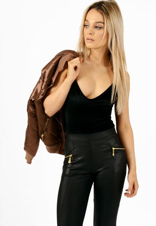 Velvet Cami Bodysuit Black