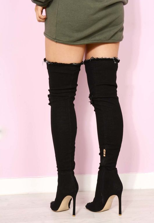 Black Denim Over The Knee Boots