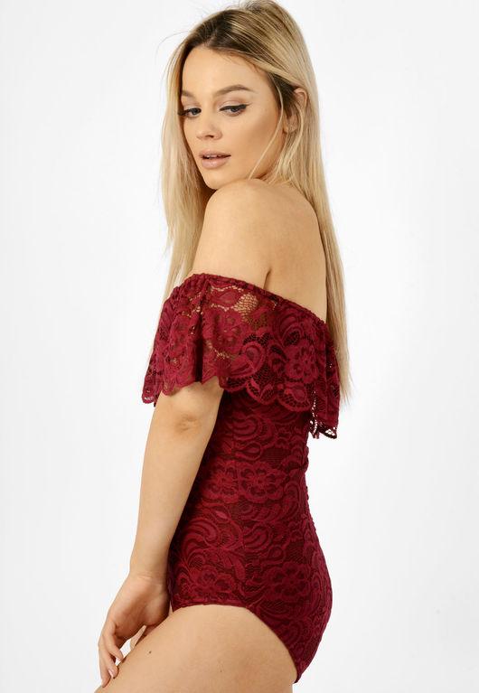 Lace Frill Bardot Bodysuit Wine