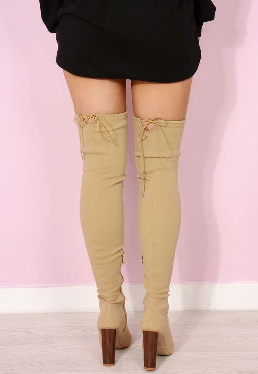 Gigi Nude Sock Thigh High Boots