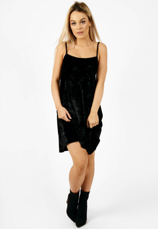 Crushed Velvet Cami Dress Black