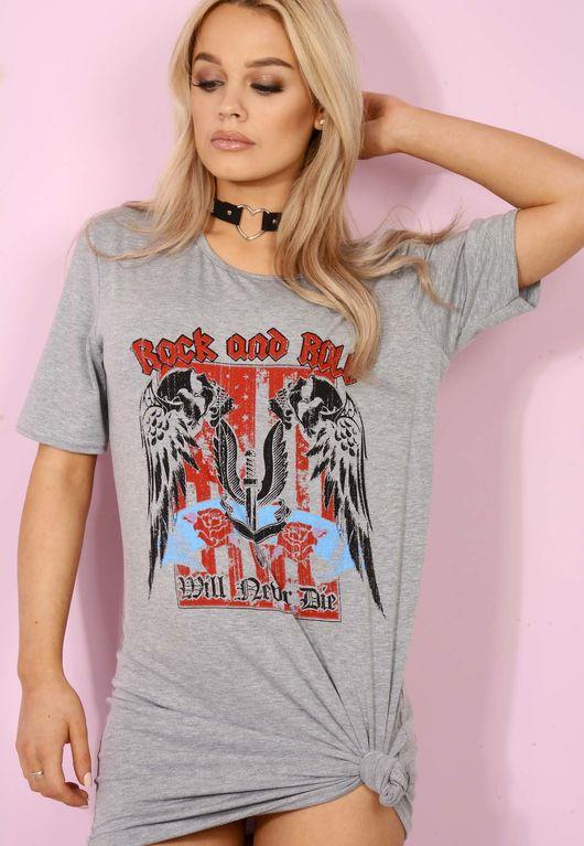 Rock n Roll Tee Grey