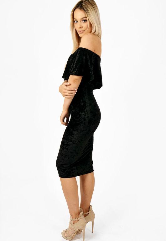 Velvet Frill Bardot Dress Black