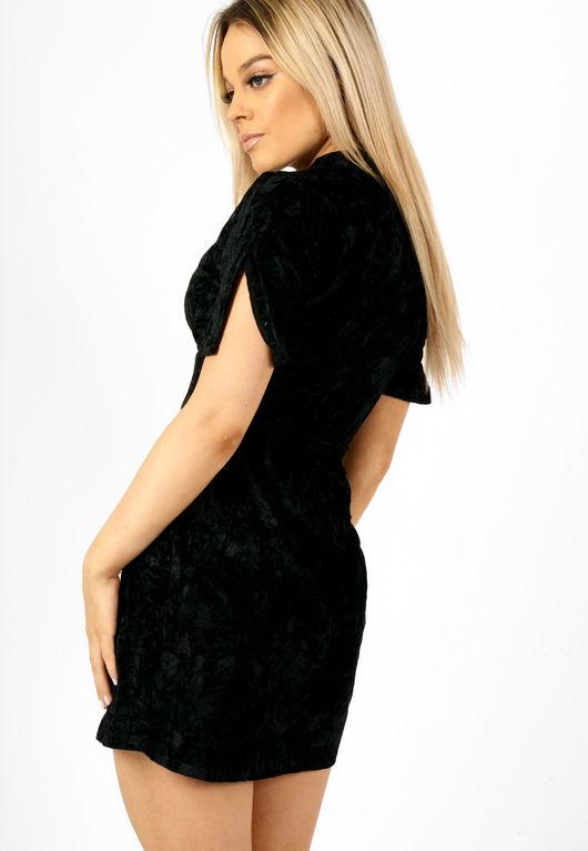 Crushed Velvet Cut Out Choker Neck Dress Black