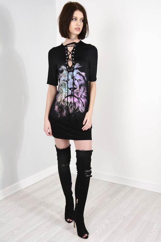 Black Tiger Motif Eyelet T-Shirt Dress