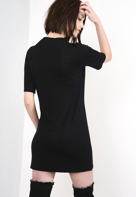 Black Cold Shoulder Acid Wash Eyelet T-Shirt Dress