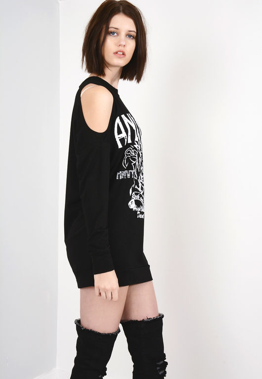 Anenger Heavy Metal Cold Shoulder T-Shirt Dress