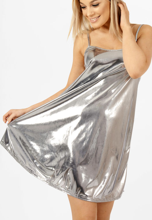 Foil Cami Swing Dress Silver