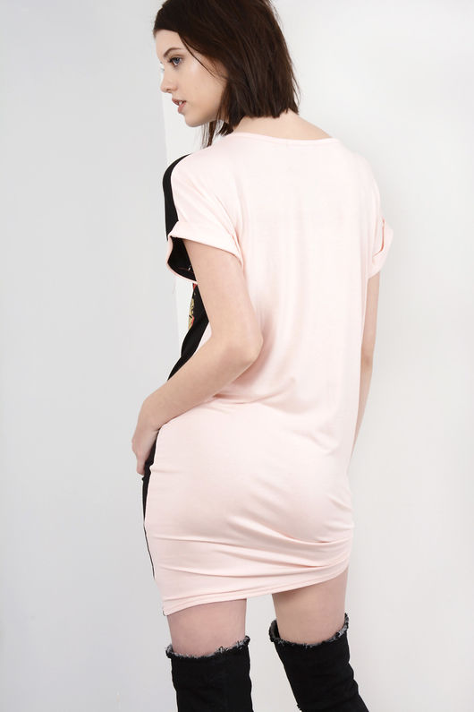 Jordan Pink and Black Printed T-Shirt Dress