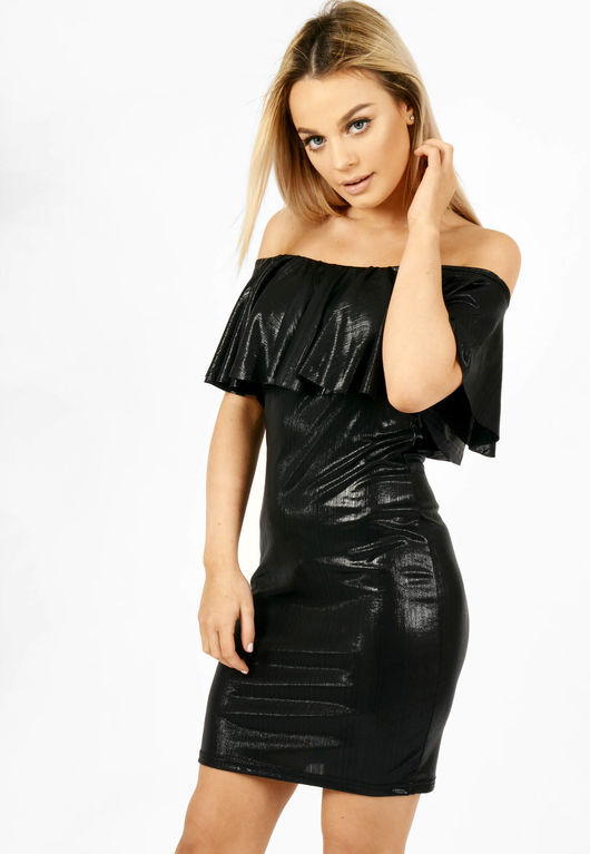 Metallic Frill Bardot Dress Black