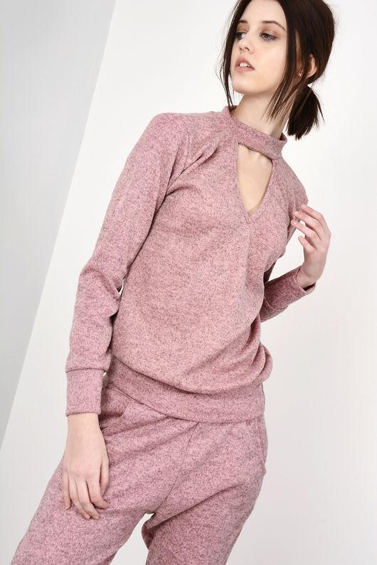 Bella Pink Choker Neck Loungewear Set