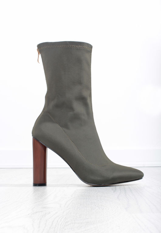 Sock Fit Stretch Ankle Boot Khaki