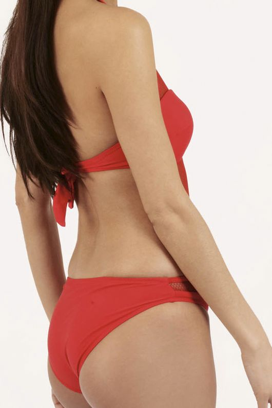 Savannah Red Mesh Detail Padded Swimsuit