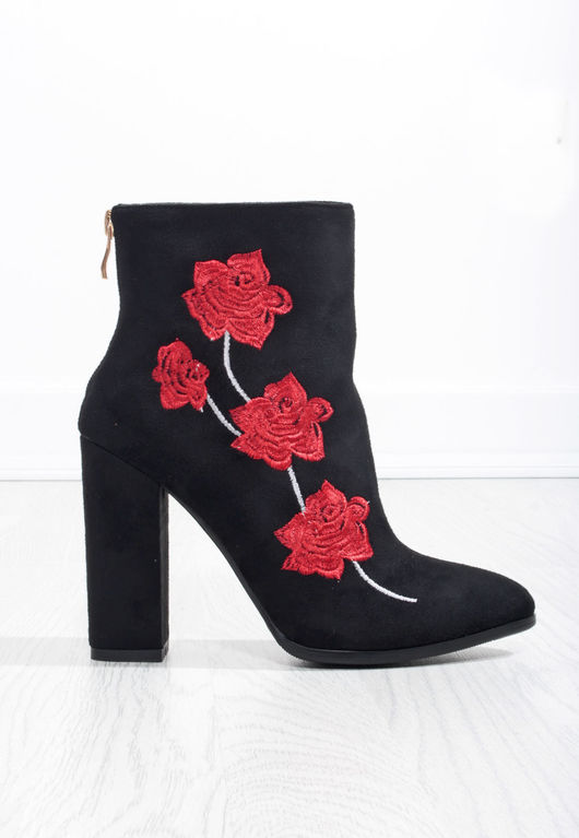 Keisha Faux Suede Floral Ankle Boot